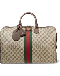 Gucci - Ophidia Medium Textured Leather-trimmed Printed Coated-canvas Weekend Bag - Lyst