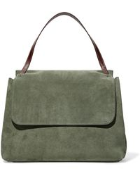 The Row | Top Handle 14 Leather-trimmed Suede Shoulder Bag | Lyst