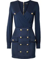 Balmain - Button-embellished Wrap-effect Crepe De Chine And Satin-twill Mini Dress - Lyst