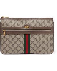 a3db626d41f9 Gucci - Pochette En Toile Enduite Imprimée À Finitions En Cuir Texturé  Ophidia Medium - Lyst