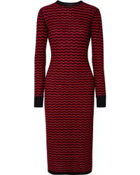 Marc Jacobs - Striped Merino Wool Midi Dress - Lyst