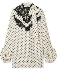 Valentino - Lace-trimmed Polka-dot Silk-georgette Blouse - Lyst