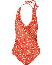 Ganni - Columbine Printed Halterneck Swimsuit - Lyst