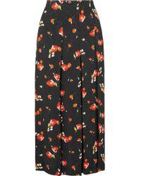 Vilshenko - Keeley Pleated Floral-print Crepe-jacquard Skirt - Lyst