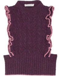 Philosophy Di Lorenzo Serafini - Ruffled Cable-knit Wool-blend Jumper - Lyst