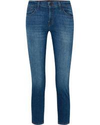 J Brand - Sadey Cropped Mid-rise Slim-leg Jeans - Lyst