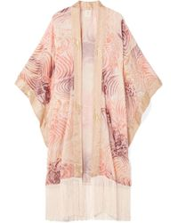 Anna Sui - Love In The Mist Fringed Fil Coupé Chiffon Kimono - Lyst