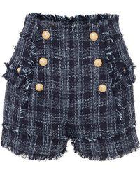 Balmain - Button-embellished Frayed Cotton-blend Tweed Shorts - Lyst