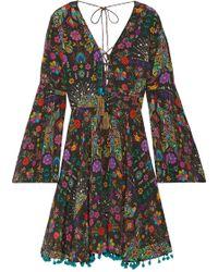 Matthew Williamson - Pampas Peacock Pompom-embellished Printed Silk Crepe De Chine Mini Dress - Lyst