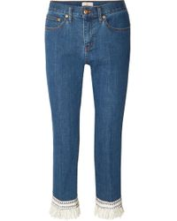 Tory Burch - Connor Fringed Crochet-trimmed Mid-rise Straight-leg Jeans - Lyst