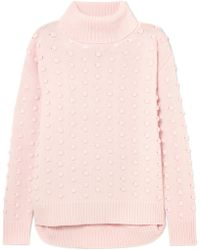 Lela Rose - Dotted Wool And Cashmere-blend Turtleneck Sweater - Lyst