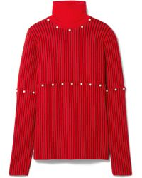 Opening Ceremony - Convertible Faux Pearl-embellished Wool-jacquard Turtleneck Sweater - Lyst