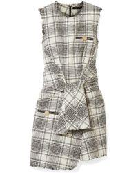 Alexander Wang - Leather-trimmed Bouclé-tweed Mini Dress - Lyst