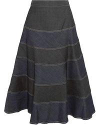 Vilshenko - Matrona Striped Denim Midi Skirt - Lyst