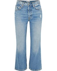 GRLFRND - Linda Distressed Cropped High-rise Flared Jeans - Lyst