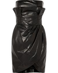 Versace - Black Leather Bustier Dress - Lyst