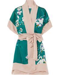Carine Gilson - Printed Silk-satin Robe - Lyst