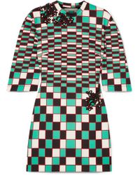 Christopher Kane - Embellished Checked Stretch-scuba Mini Dress - Lyst