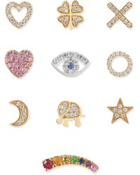 Loquet London - Send A Kiss 18-karat Yellow And White Gold Diamond And Sapphire Charms Gold Wish - Lyst