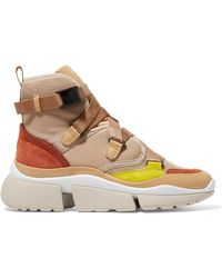 Chloé - Sonnie Canvas, Mesh, Suede And Leather High-top Trainers - Lyst