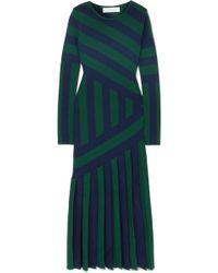 Gabriela Hearst - Felicia Pleated Striped Stretch Wool-blend Midi Dress - Lyst