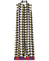 Akris - Printed Silk-crepe Midi Dress - Lyst