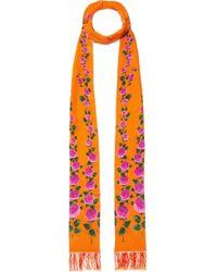 Gucci - Fringed Floral-print Silk Scarf - Lyst