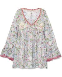 17d1cc3ebf84 Anjuna - Nelly Crochet-trimmed Floral-print Cotton-voile Dress - Lyst