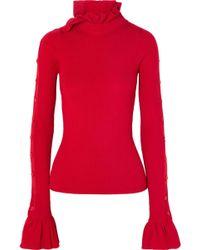 Preen By Thornton Bregazzi - Amanda Button-embellished Ruffled Ribbed Wool Sweater - Lyst