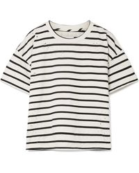 Current/Elliott - The Roadie Distressed Striped Cotton-blend T-shirt - Lyst