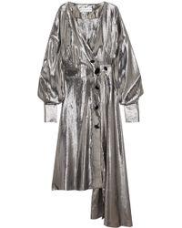 Wanda Nylon - Silk-blend Lamé Wrap Dress - Lyst