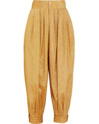 Gucci - Cropped Textured-lamé Tapered Trousers - Lyst