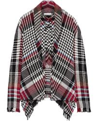 Oscar de la Renta - Fringed Checked Cotton-blend Tweed Jacket - Lyst