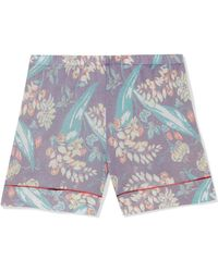 The Elder Statesman - Printed Cashmere And Silk-blend Shorts - Lyst