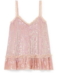 Needle & Thread - Tulle-trimmed Sequined Chiffon Camisole - Lyst