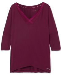 CALVIN KLEIN 205W39NYC - Sculpted Mesh-trimmed Stretch-modal Pyjama Top - Lyst