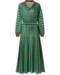 RIXO London Annie Houndstooth Knitted Midi Dress - Green