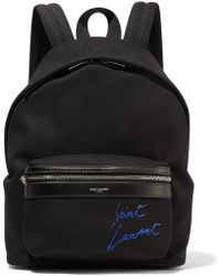 Saint Laurent - Leather-trimmed Embroidered Canvas Backpack - Lyst