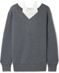 T By Alexander Wang - Off-the-shoulder Layered Ribbed Merino Wool-blend And Cotton Sweater - Lyst