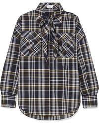 Brunello Cucinelli - Cold-shoulder Embellished Checked Cotton-blend Shirt - Lyst