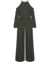MICHAEL Michael Kors - Cole Cold-shoulder Printed Chiffon Jumpsuit - Lyst