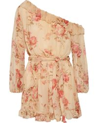 Zimmermann - Corsair One-shoulder Ruffled Floral-print Silk-georgette Playsuit - Lyst