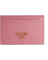 Prada - Textured-leather Cardholder - Lyst