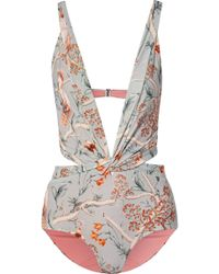 Johanna Ortiz - Cleating Hitch Twist-front Cutout Printed Swimsuit - Lyst