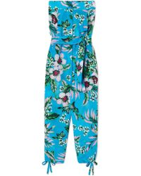 Diane von Furstenberg - Belted Floral-print Cotton And Silk-blend Jumpsuit - Lyst