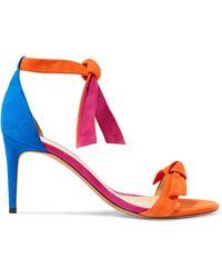 Alexandre Birman - Clarita Bow-embellished Color-block Suede Sandals - Lyst