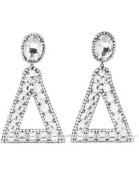 Kenneth Jay Lane Double Triangle Crystal Clip Earrings Gunmetal/crystal sDgW7