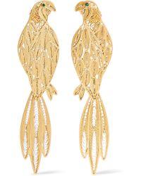 Mallarino - Pepa Gold-tone Emerald Earrings - Lyst