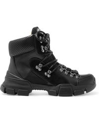 Gucci - Flashtrek Logo-appliquéd Suede, Leather And Canvas Ankle Boots - Lyst