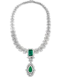 Amrapali - 18-karat White Gold, Sterling Silver, Diamond And Emerald Necklace - Lyst